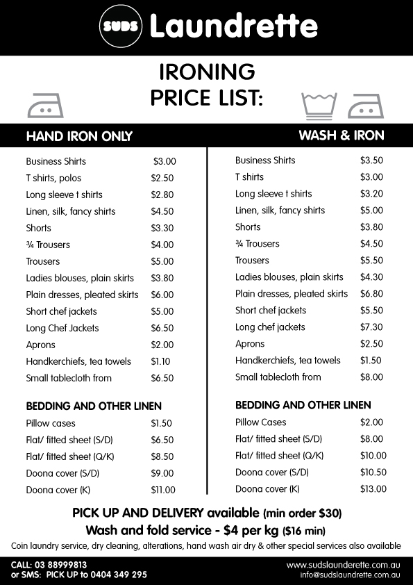 Hand Ironing Pricing Table